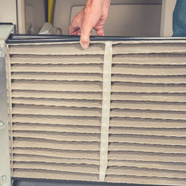 Removing the filter on a central HVAC unit