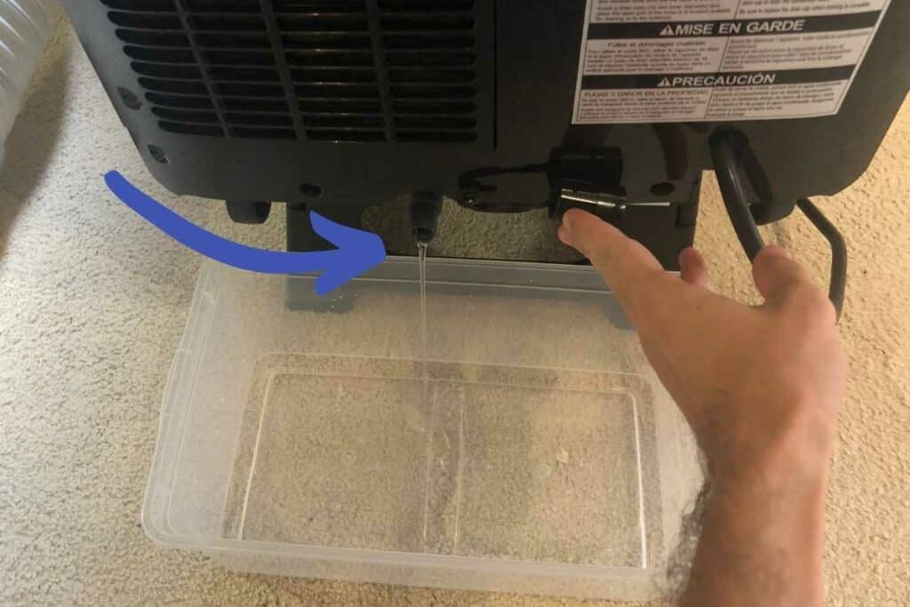 Water draining from portable AC condensate tank