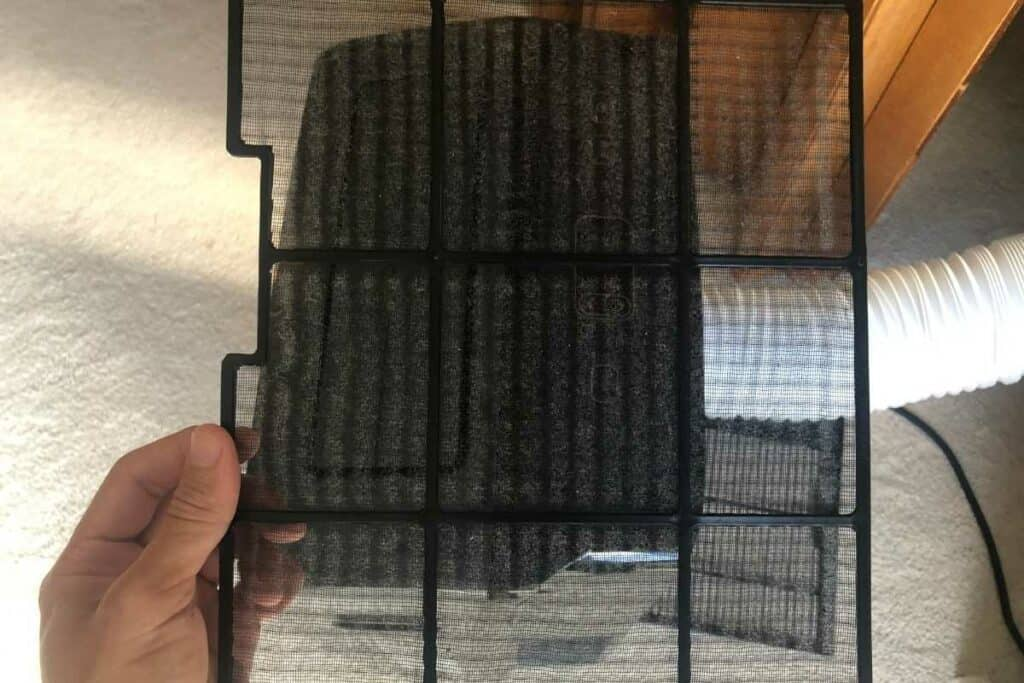 Filter on a portable air conditioner