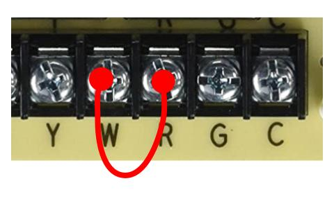 Jumping a furnace control board heating wiring
